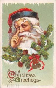 F5/ Santa Claus Merry Christmas Holiday Postcard c1912 Finger on Nose 28