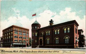 PC USA Kalamazoo, Mich., Elks Temple, Brown Block and Post Office (a816)