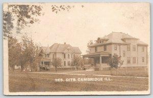 Cambridge Illinois~Residential~3 Story Homes~Vintage Auto~Arthur Blake~1912 RPPC