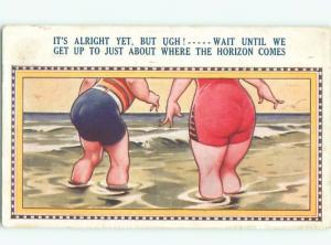 Bamforth Comic PEOPLE GOING INTO WATER AT THE BEACH AC0072