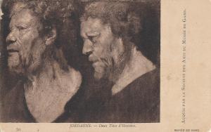 Two heads of men by Jordaens early art postcard