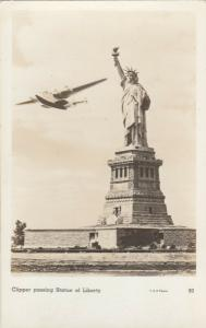 RP: NEW YORK CITY, 1930s; Statue of Liberty & Pan American Boat Airplane