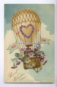 GR0063 - Hot Air Baloon/Flowers, Sending Love across the Miles - postcard