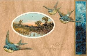 White Breasted Bluebirds~Windmill Pond Portal~Blue Daisies~Gold Emboss~Langsdorf
