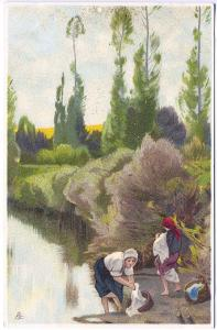 Tuck Chromograph Continental Series Washing Clothes at Stream Vintage Postcard