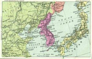 korea coree, John Walker Geographical Series No. 873 MAP Postcard (1910s)