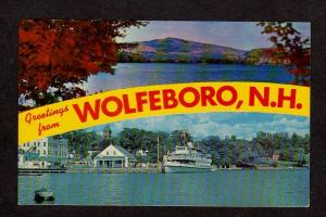 NH Greetings From Wolfeboro New Hampshire Postcard Rust Pond Copple Crown