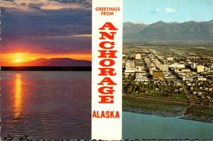 Alaska Anchorage Greetings With Skyline and Sleeping Lady Mt Susitna 1973
