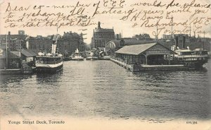Yonge Street Dock, Toronto, Ontario, Canada, early postcard, Used in 1906