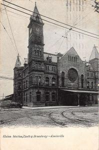 Louisville Kentucky 10th and Broadway Union Station antique pc Y10805