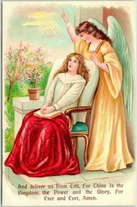 Vintage LORD'S PRAYER Religious Embossed Postcard And Deliver Us From Evil