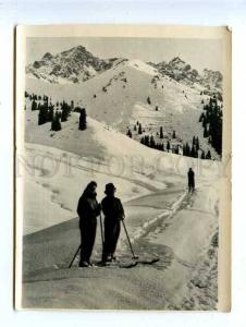 128155 Russia Winter in Mountains of Ala-Tau SKIERS Vintage PC