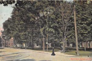 Ashtabula Ohio~North Park~Victorian Lady Crossses Street~c1910 Postcard