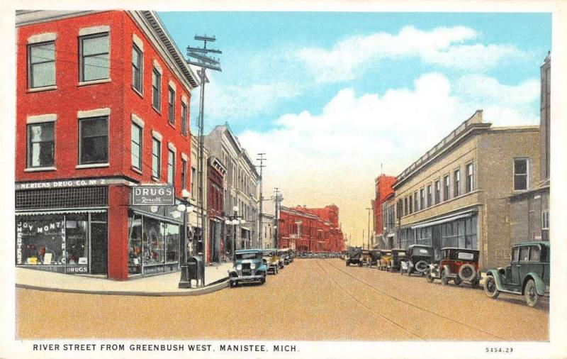 river street  manistee michigan L4454 antique postcard