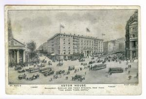 Astor House, New York, Broadway, St Paul's, Post Office, Undivided Back PPC