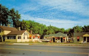 Portage Wisconsin~Shady Lawn Motel~Cabins~House Office~1950s Cars~Postcard