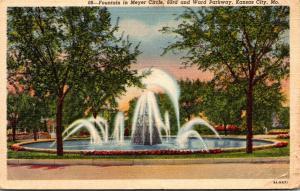 Missouri Kansas City Fountain In Meyer Circle Curteich
