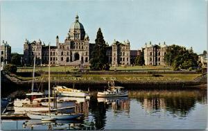 Parliament Buildings Victoria BC Boats Harbour UNUSED Vintage Postcard D97