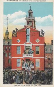 Reading Of The Declaration Of Independence Old State House 1776 Postcard