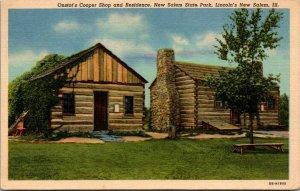 Onstot's Cooper Shop Residence New Salem State Park Illinois Linen Postcard