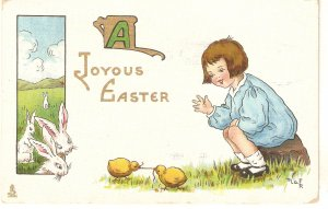 Pretty litle girl  with chicks. Rabbits Tuck Easter Frncies  Ser. PC # 763