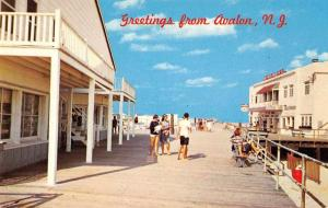 Avalon New Jersey Boardwalk Scene Vintage Postcard J56390