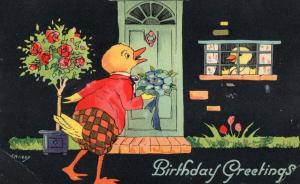 Ducks Birds On A Date Courting Antique WW2 Birthday Greetings Postcard
