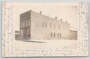 Suring Wisconsin~Our Drug Store & Hospital in the Snow~1907 RPPC