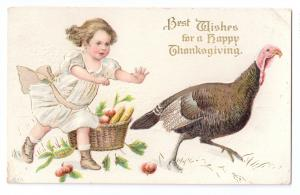 Thanksgiving Vintage Postcard Pretty Girl Chasing Turkey Embossed Gilded