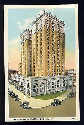 Durham, North Carolina/NC Postcard, Washington Duke Hotel, Old Cars