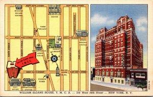 New York City William Sloane House Y M C A Curteich