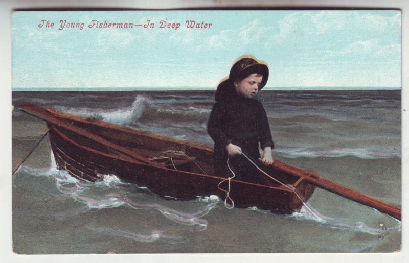 P809 old card the little young fisherman-in deep water