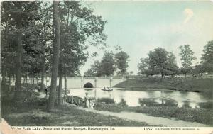 Bloomington Illinois~Miller Park Lake Stone & Rustic Bridges~1908 CU Williams