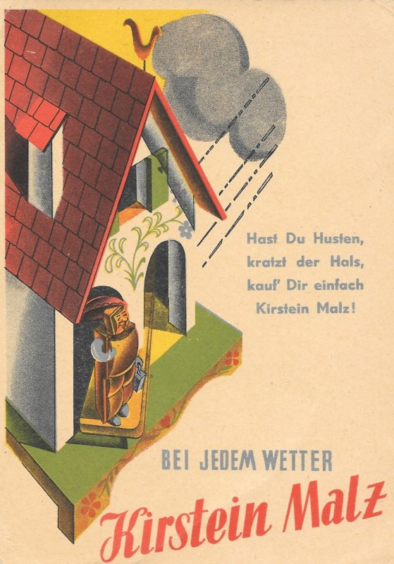 Beautiful Rare 1930s German Advertising Postcard for, Kirstein Malz, Medicine
