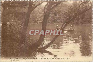 Old Postcard Lyon a walk on the lake in the golden head park