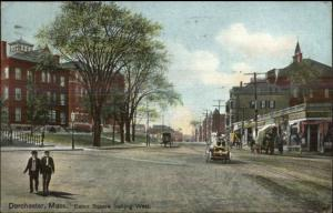 Dorchester MA Eaton Square West c1910 Postcard