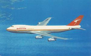 Quantas Airlines Australia Boeing 747 in flight, 50-70s