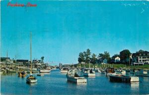 Ogunquit Maine~Boats at Anchor at Perkins Cove~Draw Bridge & Houses in Back 1965