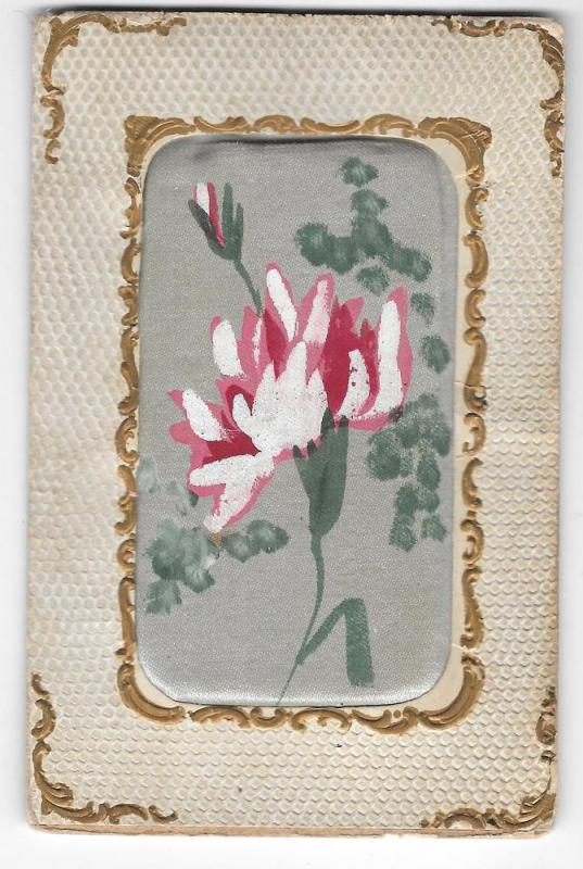Vintage Novelty Postcard Padded Hand-Painted Silk Flower