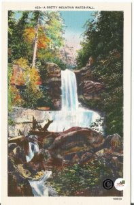 A Pretty Mountain Water-Fall Asheville Post Card Co North Carolina Vintage Linen