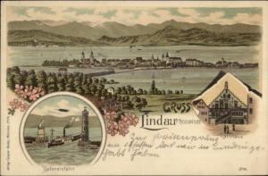 Gruss Aus Lindau a Bodensee Germany - Lighthouse c1900 Postcard