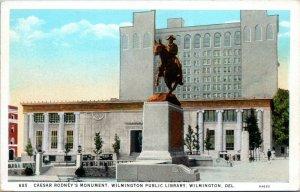 1915 Wilmington Delaware Caeasr Rodney Monument Public Library Postcard DO