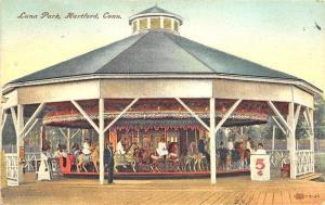 Hartford CT Luna Park Merry-Go-Round Carousel Amusement Postcard