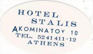 GREECE ATHENS HOTEL STALIS VINTAGE LUGGAGE LABEL