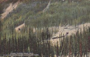 Near FIELD, British Columbia, Canada, 1900-1910's; Spiral Tunnel, In Which Tr...