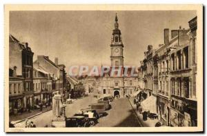 Old Postcard Le Cateau Grand Place and Hotel de Ville
