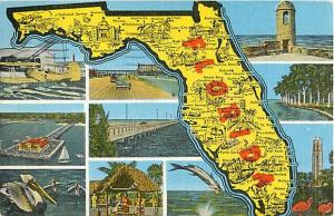 Linen Map Card of Florida 1951