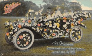 F93/ Evansville Indiana Postcard 1912 The Cadillac Floral Parade Float