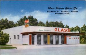 Boulder CO Russ Brown Glass Co Storefront Postcard