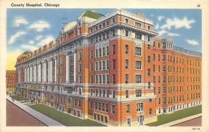 Chicago Illinois~County Hospital Corner View~People on Sidewalk~1958 Linen Pc